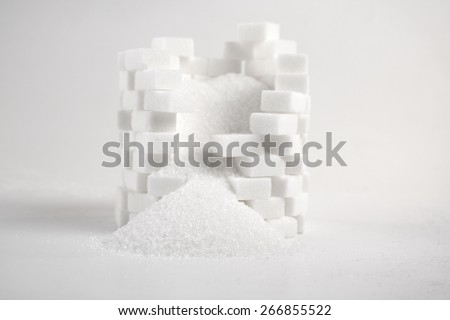 Lump sugar - close up - stock photo