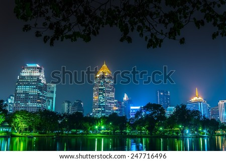 Lumphini park Bangkok downtown city at night, Thailand