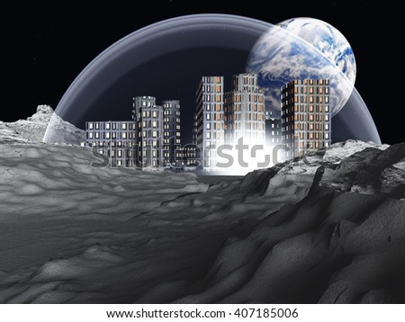Lunar colony 3D Render - stock photo