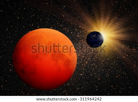 """Lunar eclipse """"Elements of this image furnished by NASA"""" - stock photo"""