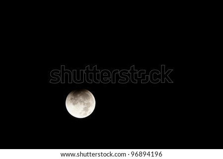 Lunar eclipse occurs when the Moon passes behind the Earth so that the Earth blocks the Sun's rays from striking the Moon. - stock photo