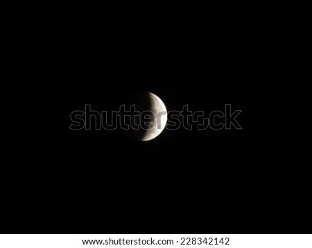 Lunar eclipse occurs when the Moon passes directly behind the Earth into its umbra (shadow). - stock photo