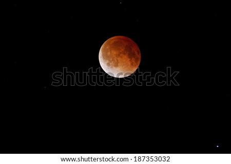 Lunar Eclipse on April 15, 2014 - stock photo