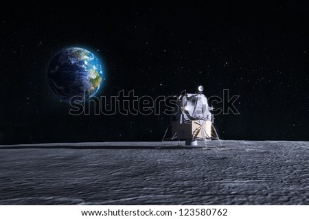 Lunar lander - CG render of the original Apollo mission space craft. - stock photo