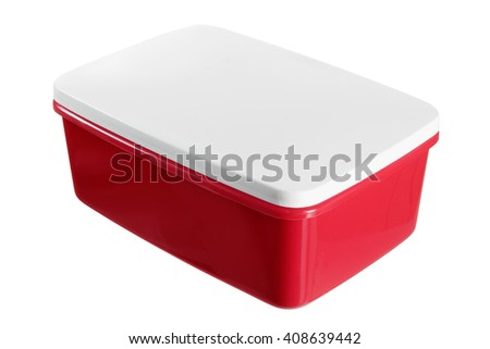 Lunch Box on White Background - stock photo