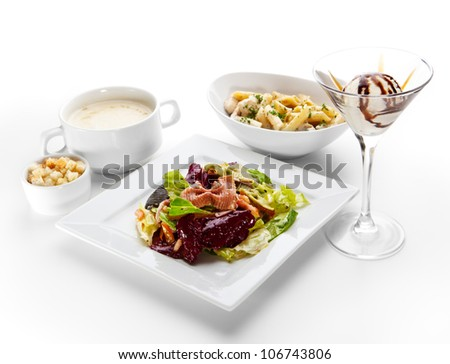 Lunch - Italian Salad, Potato Soup, Penne with Chicken, Ice Cream - stock photo