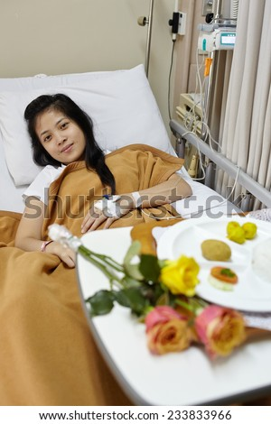 lunch Meal menu for the patient in hospital - stock photo