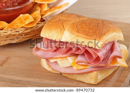 Lunch meat sandwich with salami, ham, bologna, and cheese