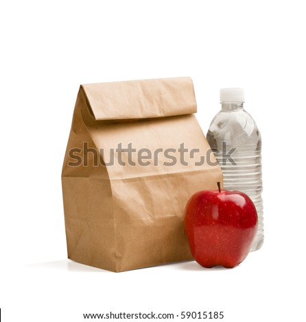 Lunch time. Closeup of Brown paper lunch bag,red apple and bottle of water isolated on white. - stock photo