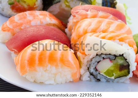 lunch with japaneese  nigiri and roll sushi dish