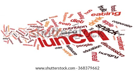 Lunch word cloud. Meal typography background.