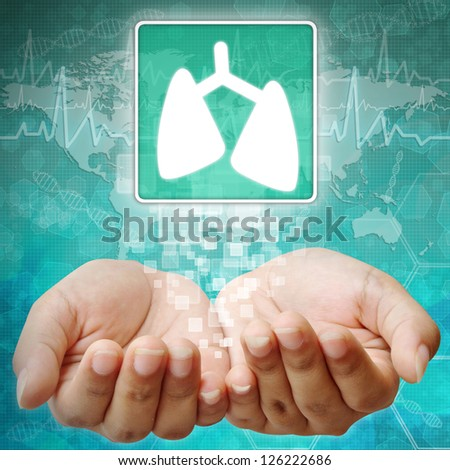 Lung Symbol on hand ,medical icon - stock photo