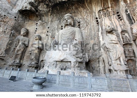 Luoyang The Buddha of Longmen Grottoes in China - stock photo