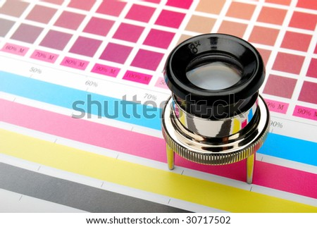 Lupe on a color chart with color bars - stock photo