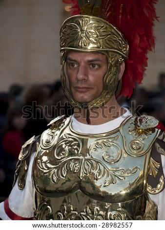LUQA, MALTA - APR10 - Roman centurion during the Good Friday procession in Luqa in Malta April 10, 2009 - stock photo