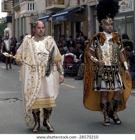 LUQA, MALTA - APR 10- Roman Emperor during the Good Friday procesion in Luqa in Malta April 10, 2009 - stock photo