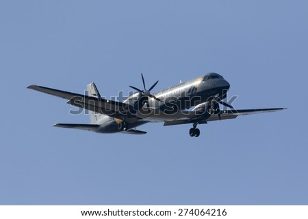 Luqa, Malta April 30, 2015: West Air Sweden Cargo British Aerospace ATP landing runway 31. - stock photo
