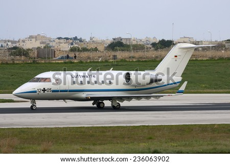 Luqa, Malta February 12, 2008: German Air Force Canadair Challenger 601 (CL-600-2A12) backtracking runway 13 after landing. - stock photo