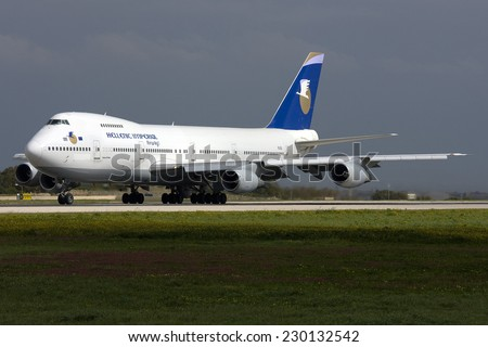 Luqa, Malta February 25, 2011: Hellenic Imperial Airways Boeing 747-230B lined up runway 31, awaiting take off clearance. - stock photo