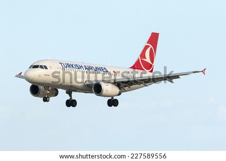 Luqa, Malta February 12, 2014: Turkish Airlines Airbus A319-132 arriving from Istanbul.  - stock photo