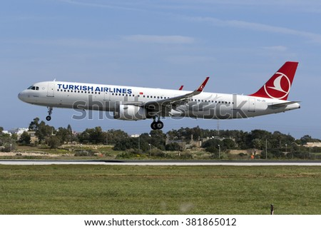 Luqa, Malta February 25, 2016: Turkish Airlines Airbus A321-231 [TC-JSI] on finals runway 31. - stock photo