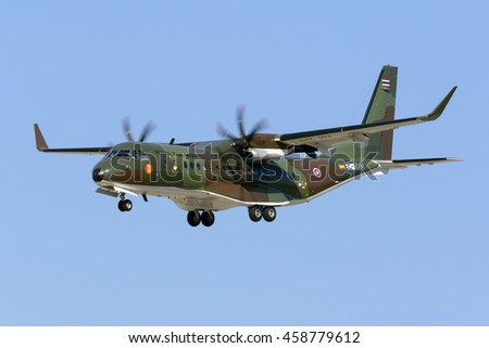 Luqa, Malta July 26, 2016: Royal Thai Army CASA C-295W on delivery flight. This is the first C-295 for the Thai Army.