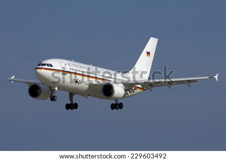 Luqa, Malta November 16, 2007: German Air Force (Luftwaffe) Airbus A310-304 arriving with an official delegation.