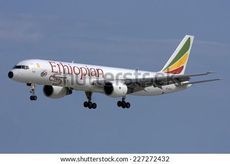 Luqa, Malta October 24, 2007: Ethiopian Airlines Cargo Boeing 757-260PF arriving in Malta, runway 31. - stock photo