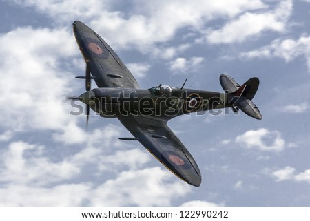 LUQA, MALTA - SEP 29 - Supermarine Spitfire flies by during the 20th edition of the Malta International Airshow on 29 September 2012 - stock photo
