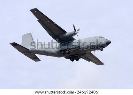 Luqa, Malta September 24, 2010: French Air Force Transall C-160R on finals runway 13. - stock photo