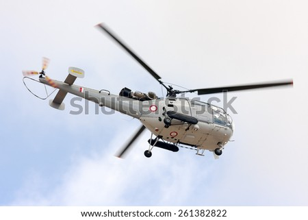 Luqa, Malta September 24, 2011: Malta Air Squadron Aerospatiale SA-316B Alouette III performing training over the airfield.