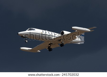Luqa, Malta September 25, 2009: US Air Force Gates Learjet C-21A (35A) on finals for runway 32. - stock photo