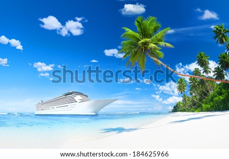 Lurxurious Cruise Ship By The Beach With Palm Coconut Trees - stock photo