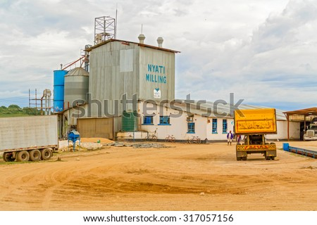 Lusaka, Zambia - April 4, 2015: View at the buildings of  Nyati milling plant near Lusaka in Zambia - stock photo