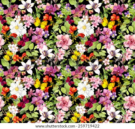 Lush flowers and butterflies on black background. Floral pattern. Water color - stock photo