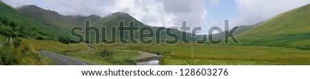 Lush landscape in western ireland, connemara, 12 bens country - stock photo