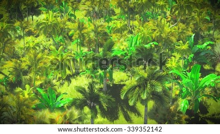 Lush vegetation in the jungle