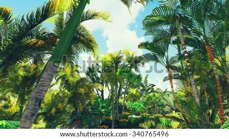 Lush vegetation in the jungle - stock photo