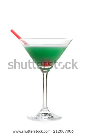 LUST - A green cocktail with cherry isolated on white background - stock photo