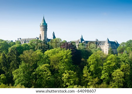 Luxembourg castle and green trees in spring - stock photo