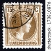 LUXEMBOURG - CIRCA 1927: a stamp printed in the Luxembourg shows Charlotte, Grand Duchess of Luxembourg, Reign from 1919 to 1964, circa 1927 - stock