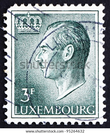 LUXEMBOURG - CIRCA 1965: a stamp printed in the Luxembourg shows Jean, Grand Duke of Luxembourg, Ruled from 1964 to 2000, circa 1965
