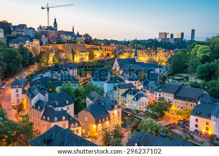 Luxembourg City Panorama on a summer day - stock photo