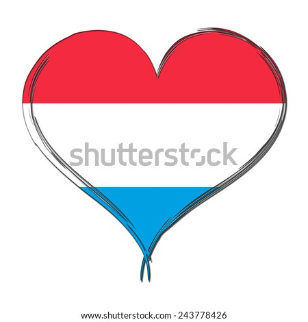 Luxembourg 3D heart shaped flag - stock photo