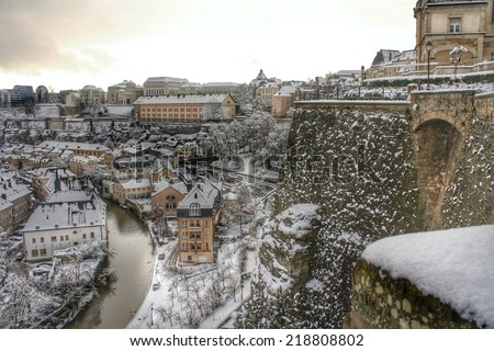Luxembourg, Europe by snow - stock photo