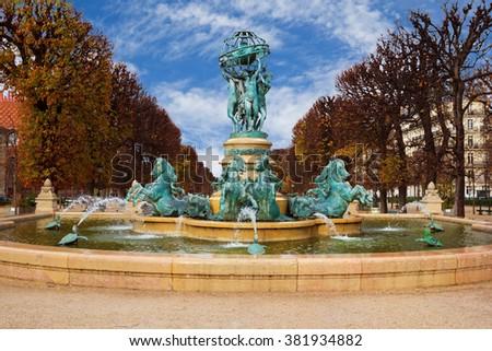 Luxembourg Garden in Paris, Fontaine de Observatoir, Paris. - stock photo
