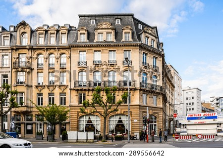 LUXEMBOURG, LUXEMBOURG - JUN 9, 2015: Architecture in Luxembourg city in evening. Luxembourg city is the capital of the Grand Duchy of Luxembourg