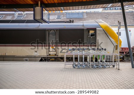 LUXEMBOURG, LUXEMBOURG - JUN 9, 2015: Train at the Luxembourg railway station. Luxembourg city is the capital of the Grand Duchy of Luxembourg
