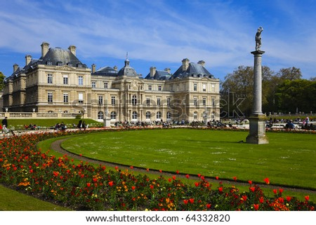 Luxembourg Palace and Garden in Paris. France. - stock photo