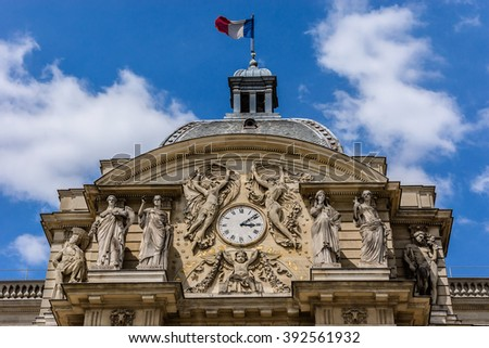 Luxembourg Palace in Paris, first great example of French classical architecture during 17th century. France. Luxembourg palace hosts French Senate. Architectural fragments.